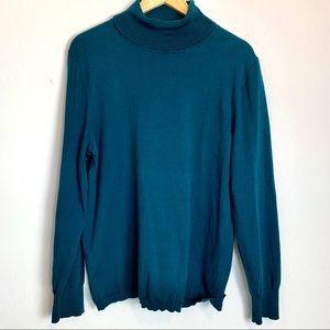Talbots Teal Blue Knit Turtleneck Sweater XL